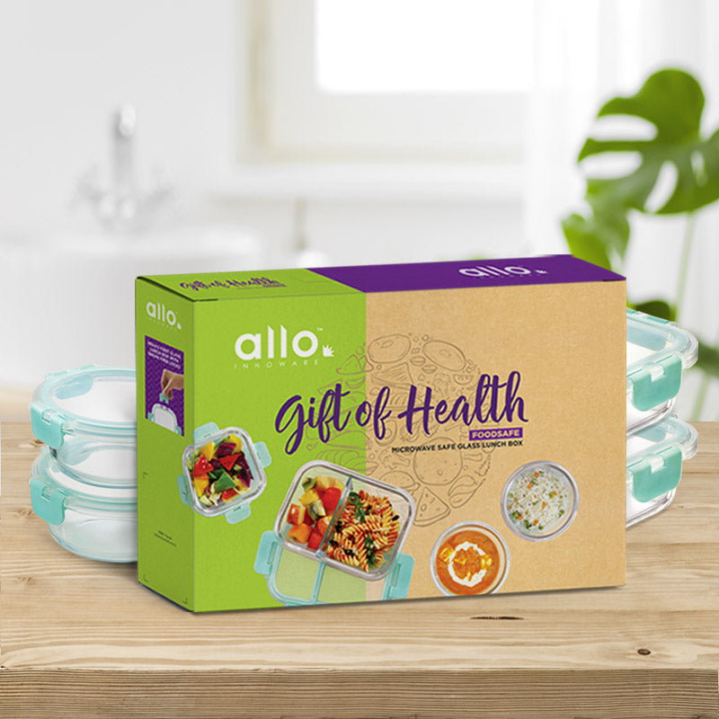 Allo Foodsafe Microwave & oven safe Glass food container gift set, A gift gor any occasion, giftbox of health. Surpise your loved ones with healthy glass containers