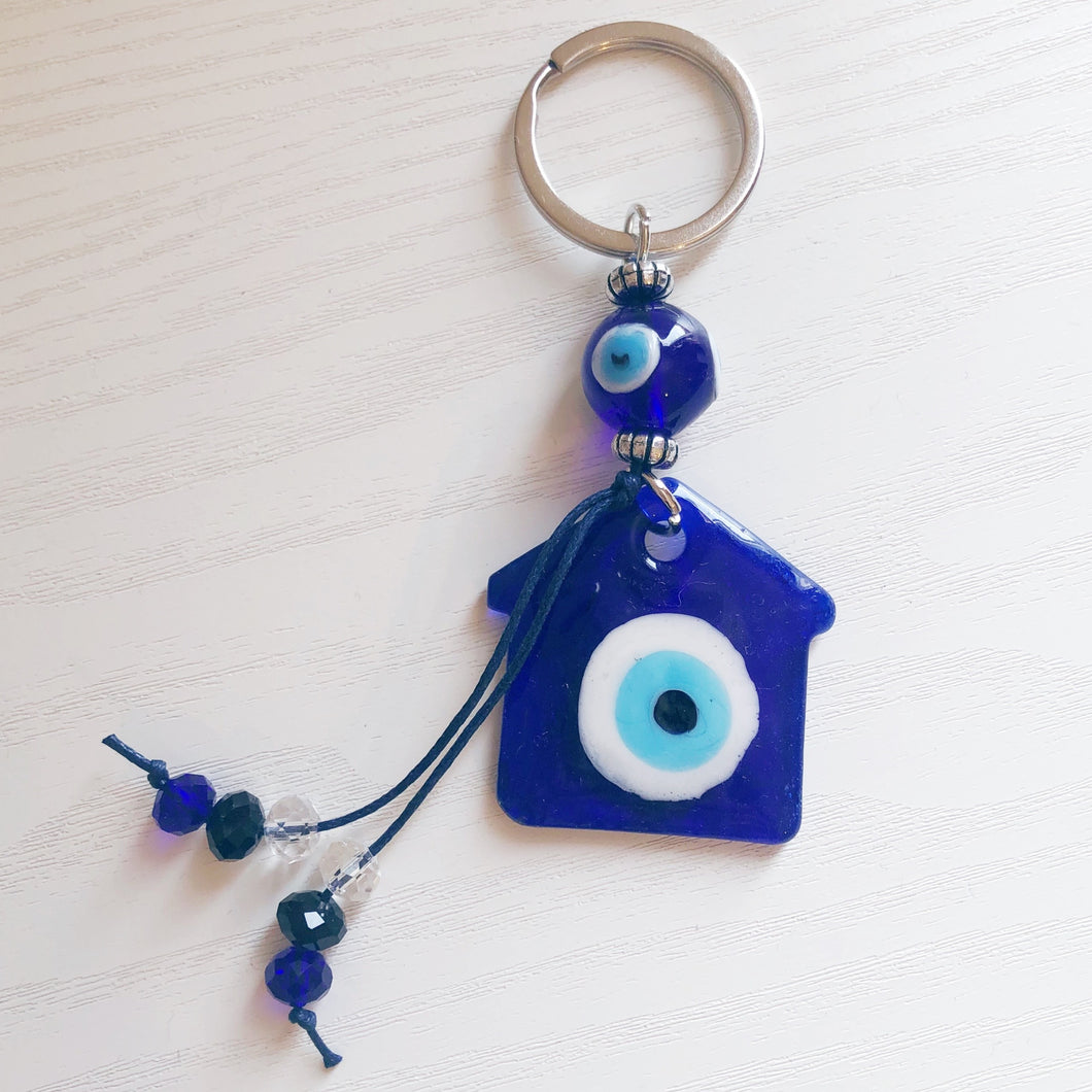 Glass Evil Eye House Keychain