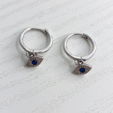 Load image into Gallery viewer, Evil Eye Huggie Earrings