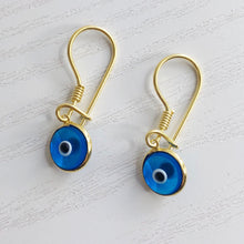 Load image into Gallery viewer, Classic Gold Evil Eye Drop Earrings