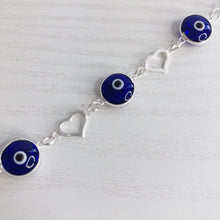 Load image into Gallery viewer, Hearts and Evil Eyes Bracelet