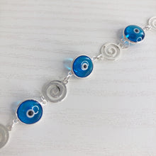 Load image into Gallery viewer, Swirls and Evil Eyes Bracelet