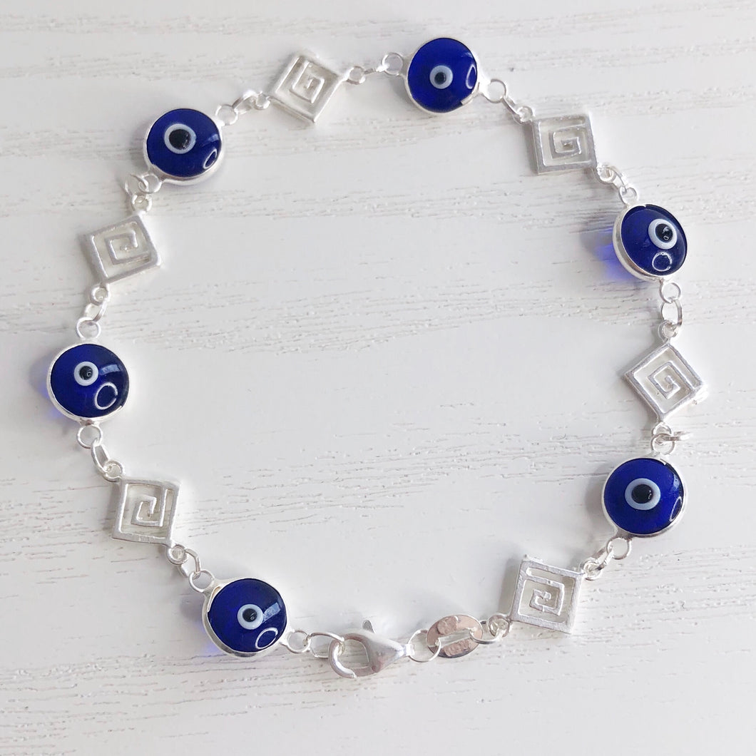 Greek Key and Evil Eyes Bracelet