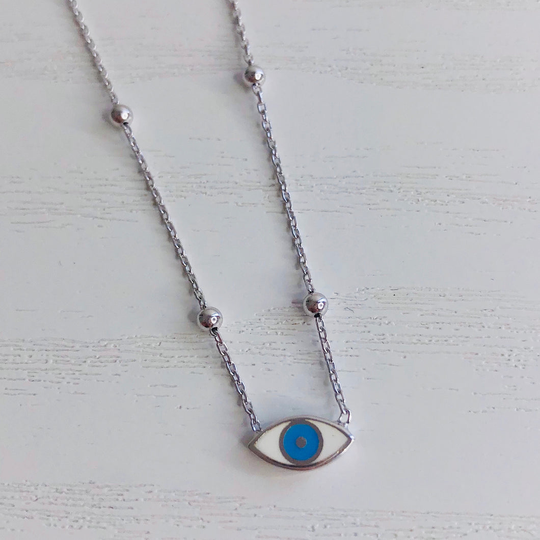 Single Eye on Beaded Chain Necklace