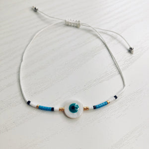 String Beaded Circle Eye Bracelet