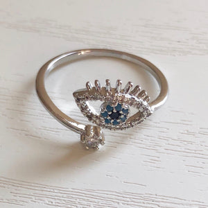 Diamante Evil Eye Ring