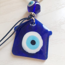 Load image into Gallery viewer, Glass Evil Eye House Keychain