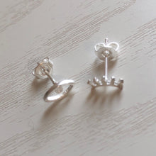 Load image into Gallery viewer, Silver Eye and Lash Stud Earrings