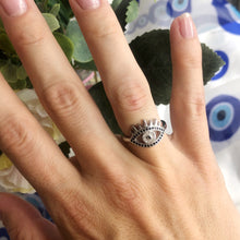 Load image into Gallery viewer, Sterling Silver Black Eye of Nyx Ring
