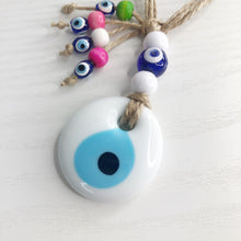 Load image into Gallery viewer, White Evil Eye Beaded Hanging Charm