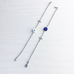 Cross and Evil Eye Bracelet