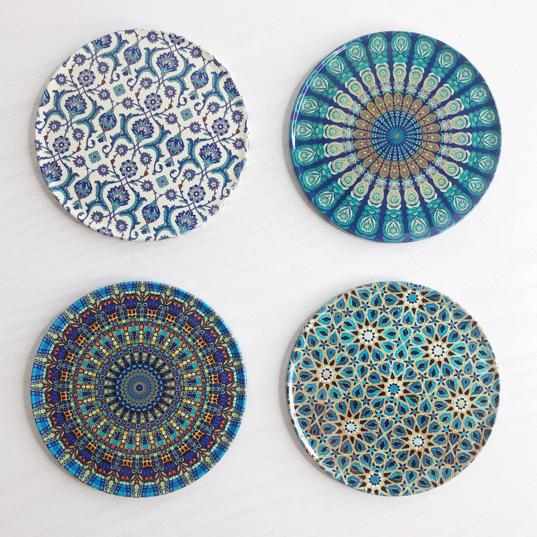 Evil Eye Inspired Mandala Coaster Set