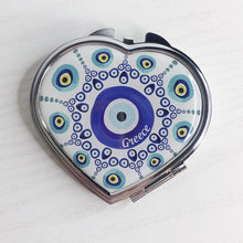 Load image into Gallery viewer, Evil Eye Heart Compact Mirror