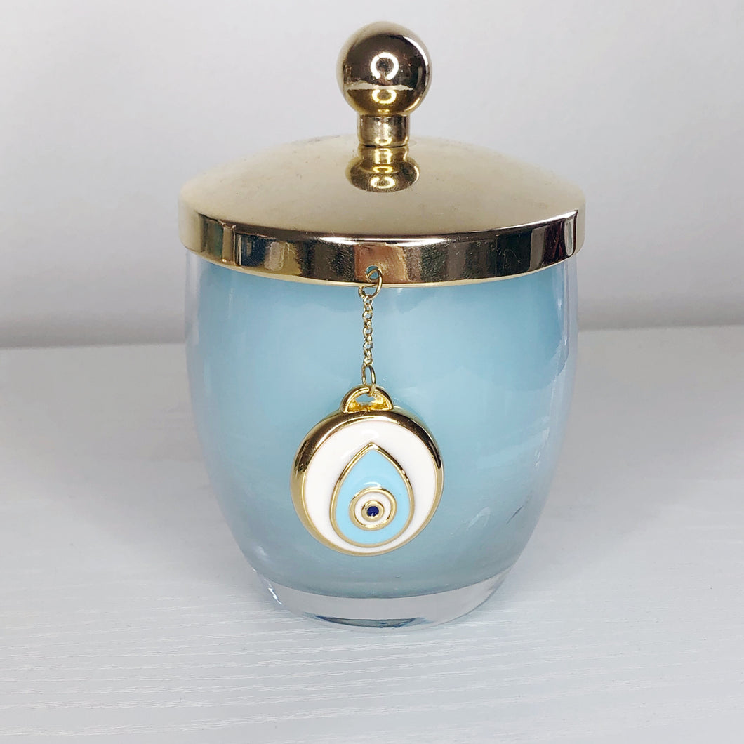 Gold Charm Evil Eye Candle