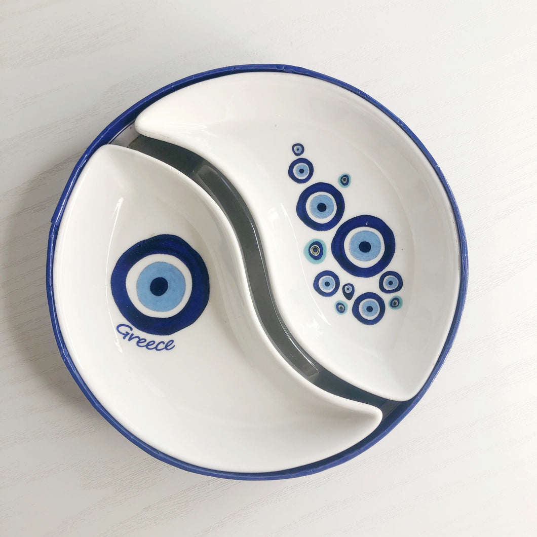 Kedima Greece Blue Eyes Ying & Yang Dish
