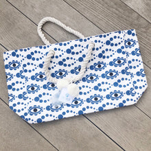 Load image into Gallery viewer, Salty Blue Evil Eye Beach Bag