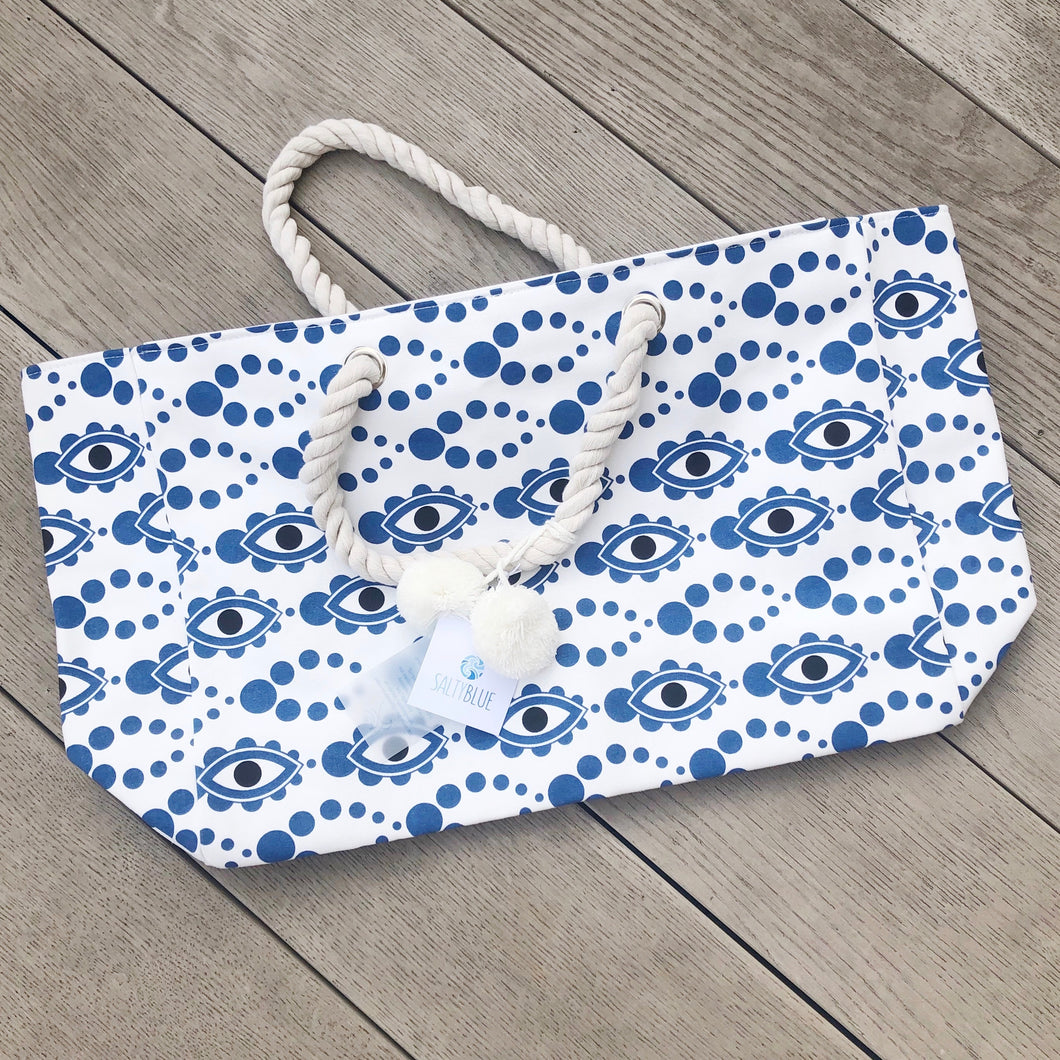 Salty Blue Evil Eye Beach Bag
