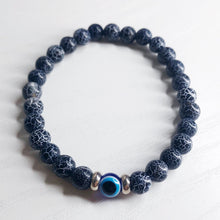 Load image into Gallery viewer, Black Turquoise Stone Evil Eye Bracelet