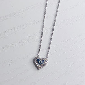 Evil Eye Diamante Heart Necklace