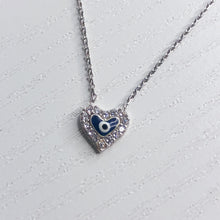 Load image into Gallery viewer, Evil Eye Diamante Heart Necklace