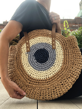Load image into Gallery viewer, Evil Eye Straw Summer Bag