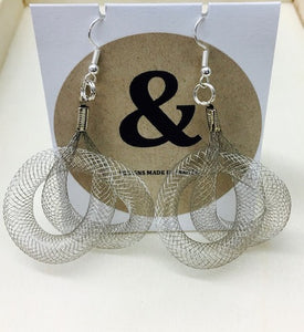 Mesh earrings-silver