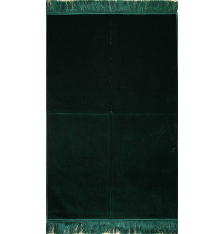Solid Simple Velvet Prayer Rug - Dark Green