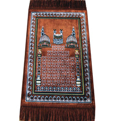 Child Velvet Prayer Rug - Orange with Kaba and Mosques