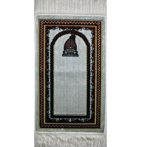 Child Velvet Prayer Rug - White and Orange with Mosque Dome