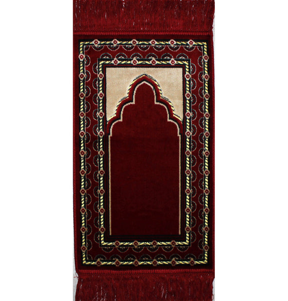 Child Velvet Prayer Rug - Red with Dotted Border