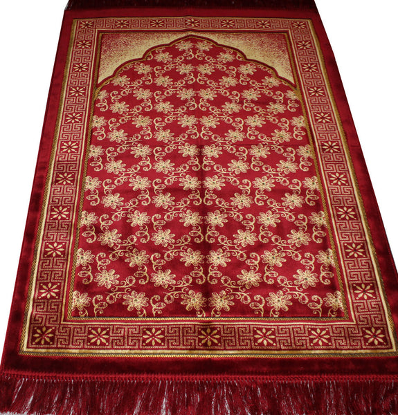 Plush Velvet Floral Trellis Prayer Rug Red / Gold