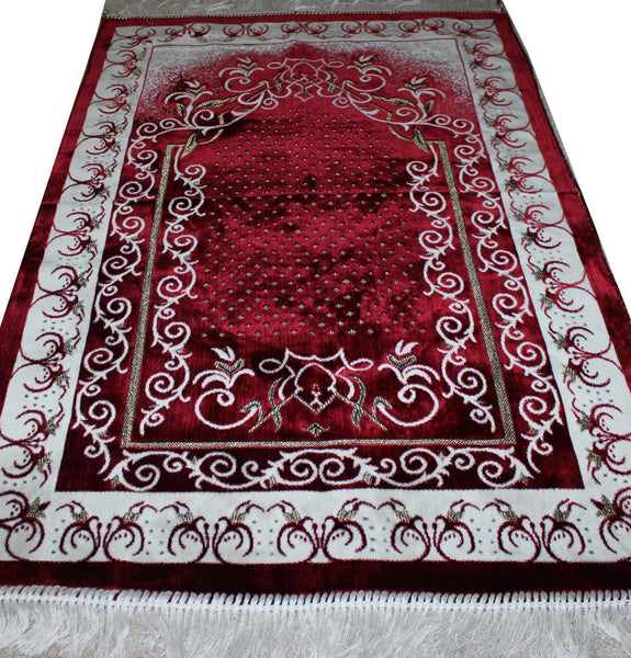 Plush Velvet Dancing Vine Prayer Rug Red