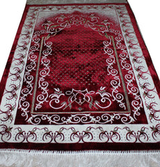 Red White Turkish Muslim Janamaz Vine Prayer Rug
