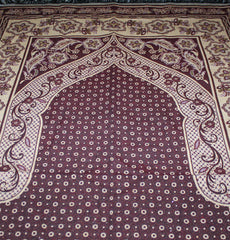 Woven Reversible Floral Polka Dot Prayer Mat - Burgundy