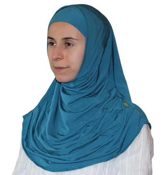 Firdevs Practical Scarf & Bonnet Teal Green