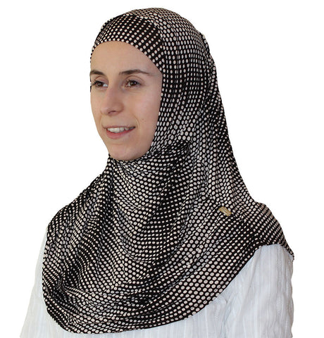 Firdevs Practical Scarf & Bonnet Small Polka Dot Brown
