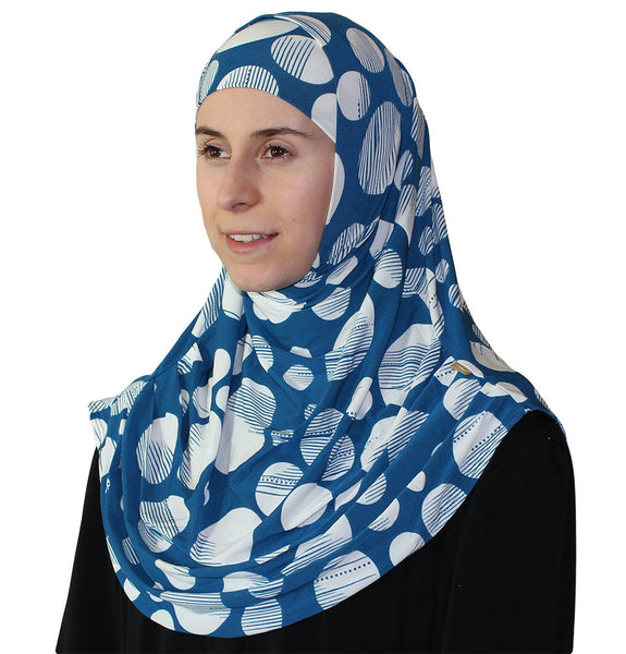 Firdevs Practical Scarf & Bonnet Large Polka Dot Blue