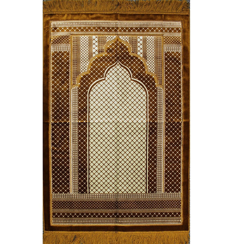 Aydin Prayer Rug Velvet Wide Extra Large Prayer Rug Traditional Geometric Gold - Modefa