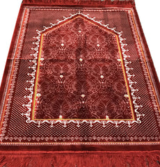 Double Plush Wide Extra Large Prayer Rug Solid Red