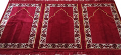 Family islamic Prayer Rug 3 Person Red