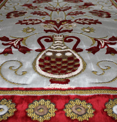 Plush Velvet Floral Daisy Vase Prayer Rug Red & White