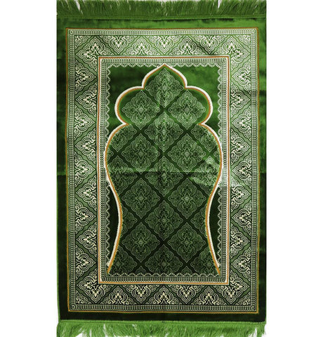 Velvet Wide Large Islamic Prayer Rug Elegant Green