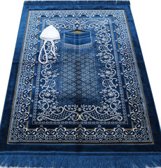 Double Plush Wide Extra Large Prayer Rug - Blue