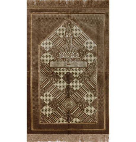 Lux Plush Regal Prayer Rug Brown