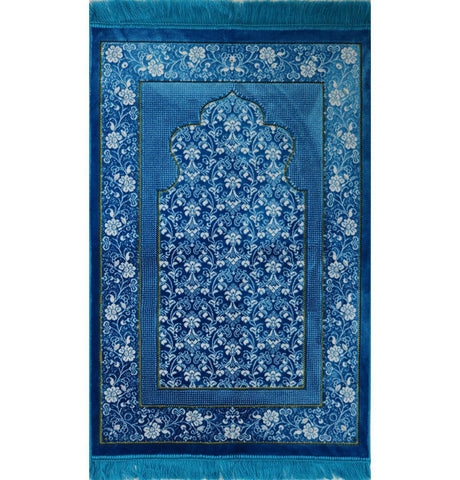 Plush Ipek Prayer Rug Blue Floral