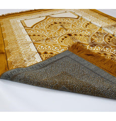 Double Plush Wide Extra Large Prayer Rug - Gold