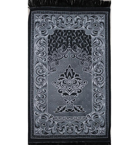 Taffeta Fleur Islamic Prayer Mat - Black