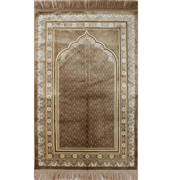 Plush Velvet Prayer Rug Simple Floral Beige