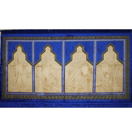 Family Islamic Prayer Rug 4 Person Blue