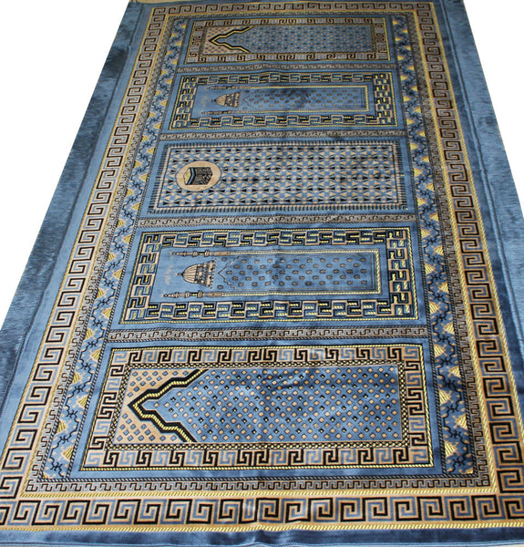 Prayer Rug Types: Masjid Islamic Prayer Rug 5 Person Blue